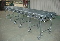 extendable flexible conveyor systems with flexible gravity rollers