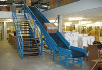 Mezzanine floor chevron belt conveyor